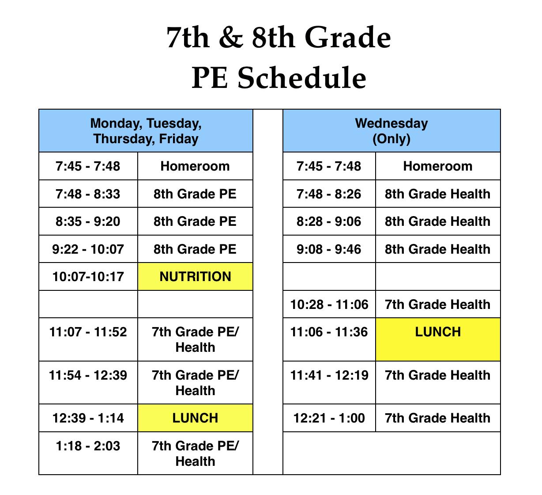 7th/8th PE Schedule