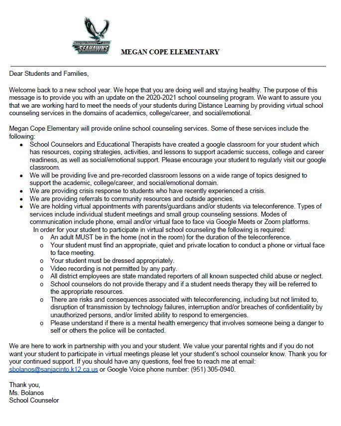 2020-2021 Parent Letter in English