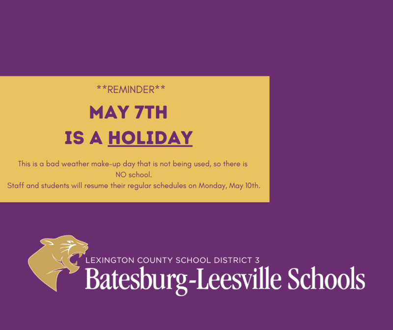 Scheduling Reminder - May 7th is a Holiday
