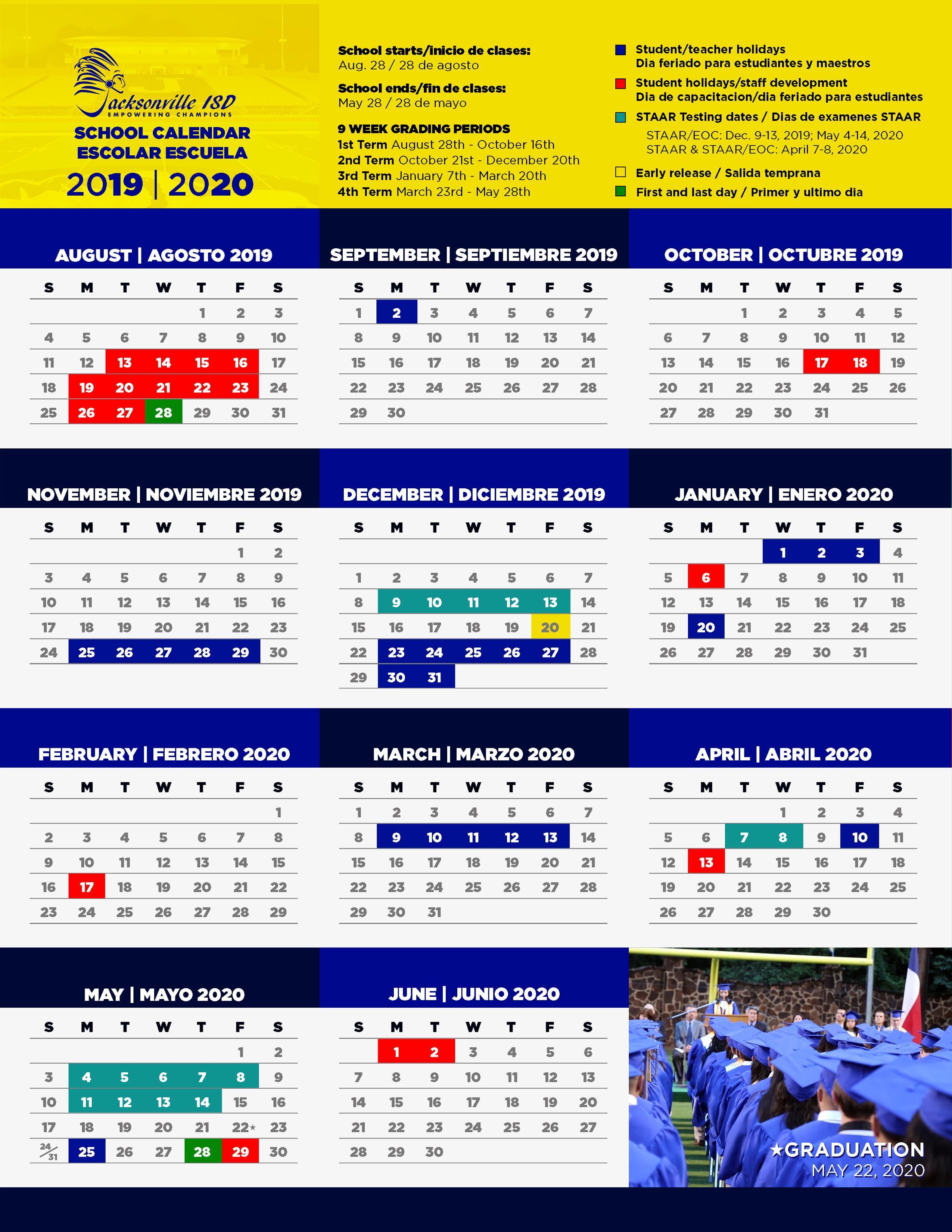 image of 2019-20 school calendar