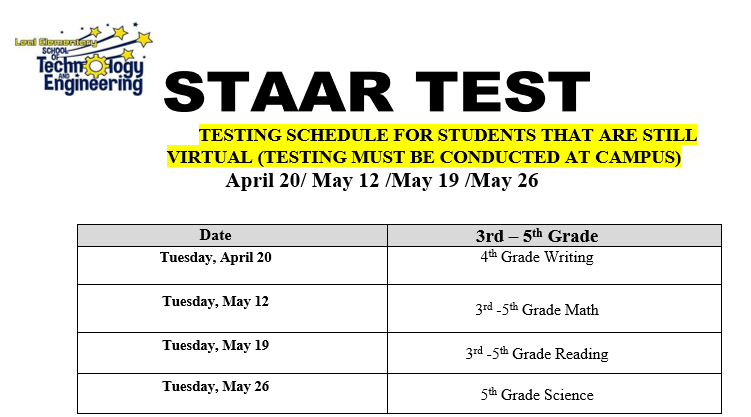 STAAR testing starts April 20, 2021 for Virtual Students. Featured Photo