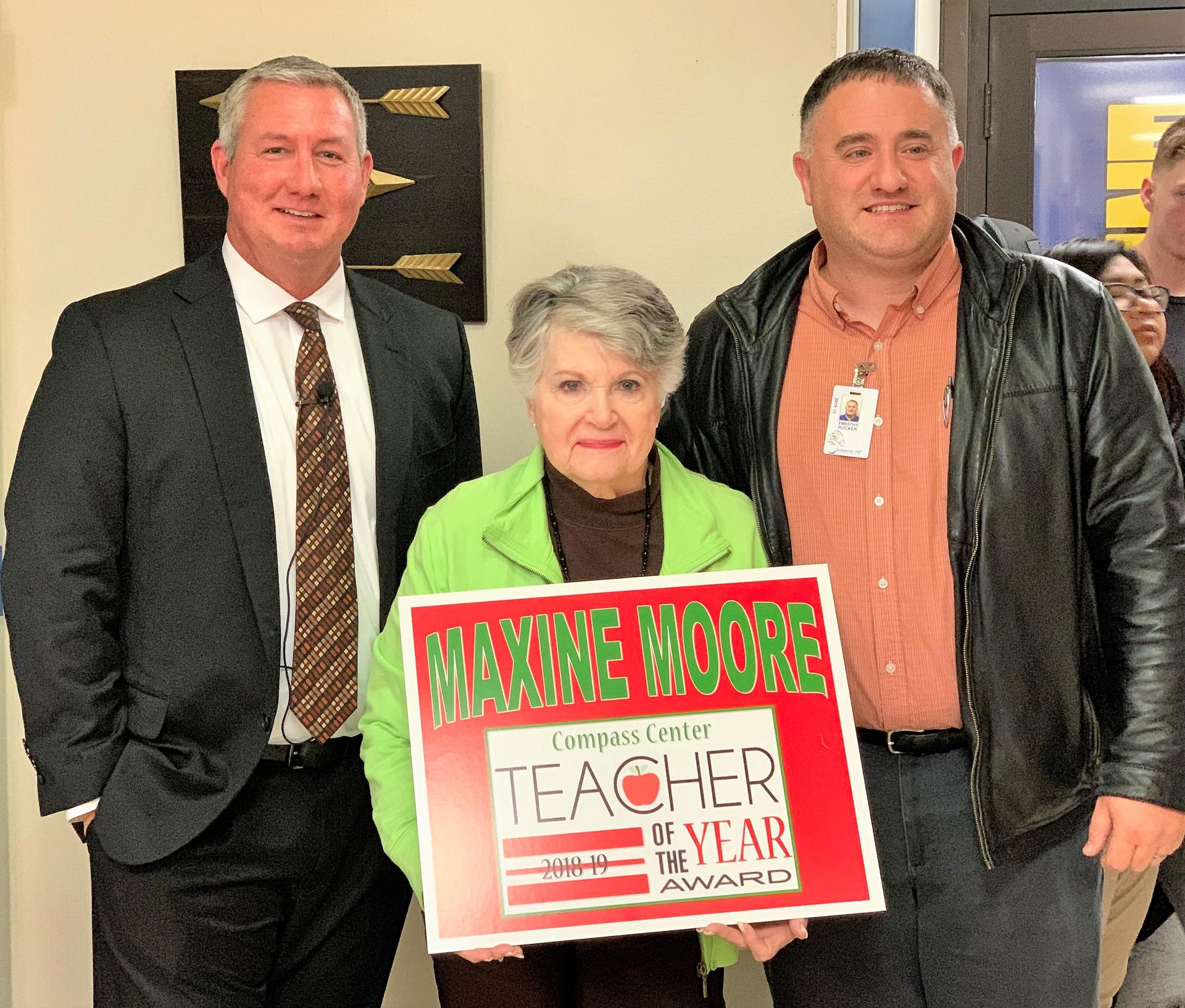 maxine moore with principal and superintendent