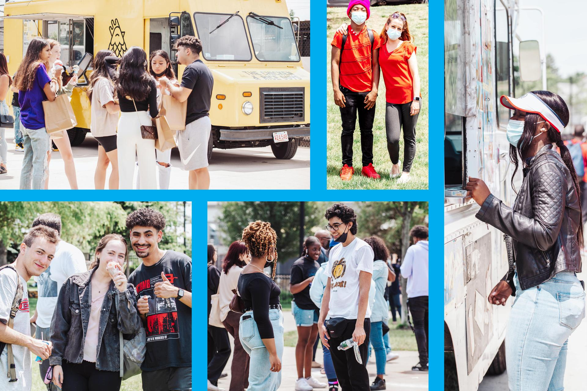 Multi-tile image of seniors enjoying food and ice cream trucks outside EHS