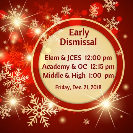 Early Dismissal Friday, December 21, 2018