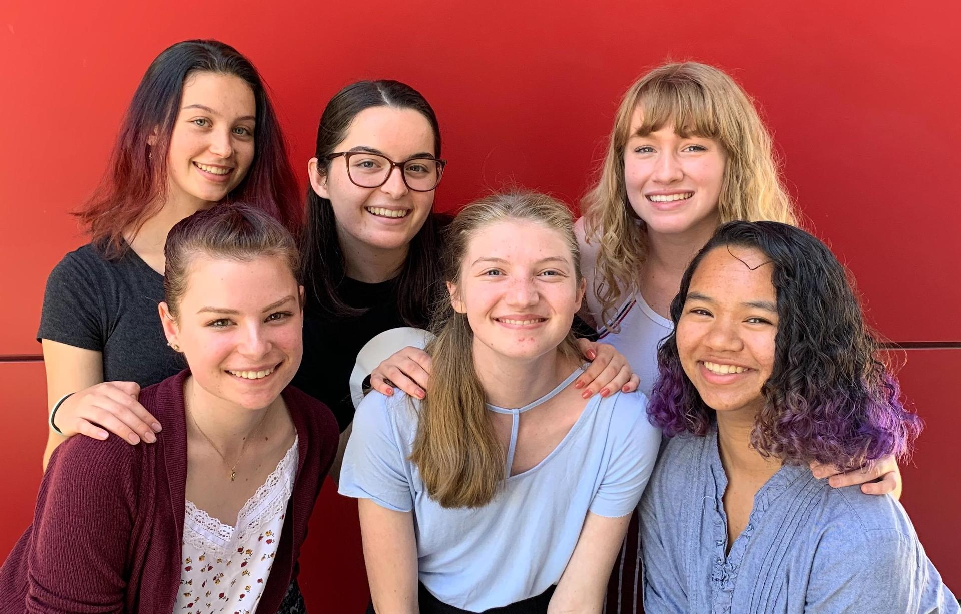 2019 / 2020 Thespian Officers: Back Row (L-R) Nicole Benton (Festival Coordinator),Katie Hedman (President), Nico Xepoleas (Community Outreach Director) / Front Row (L-R): Molly Twilleager (Secretary), Lydia Hadley (Publicity Director), Haley Ashe (Treasurer)