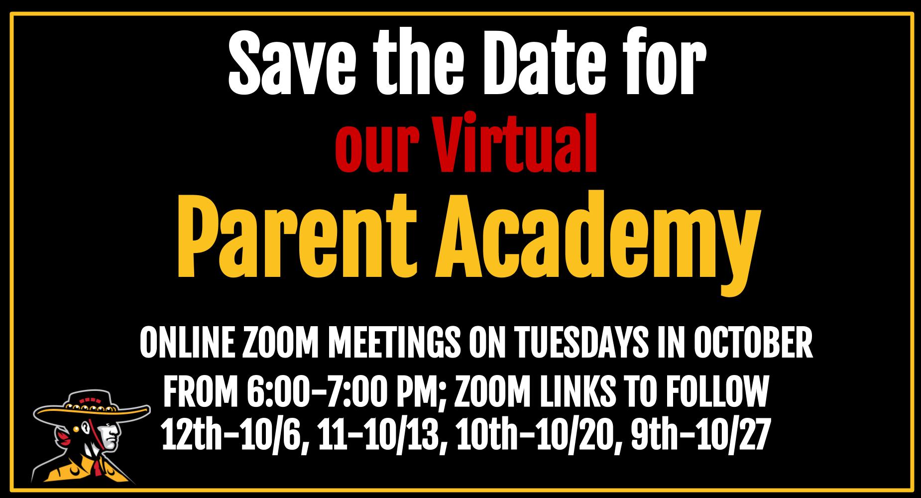 Virtual Parent Academy Tuesdays in October