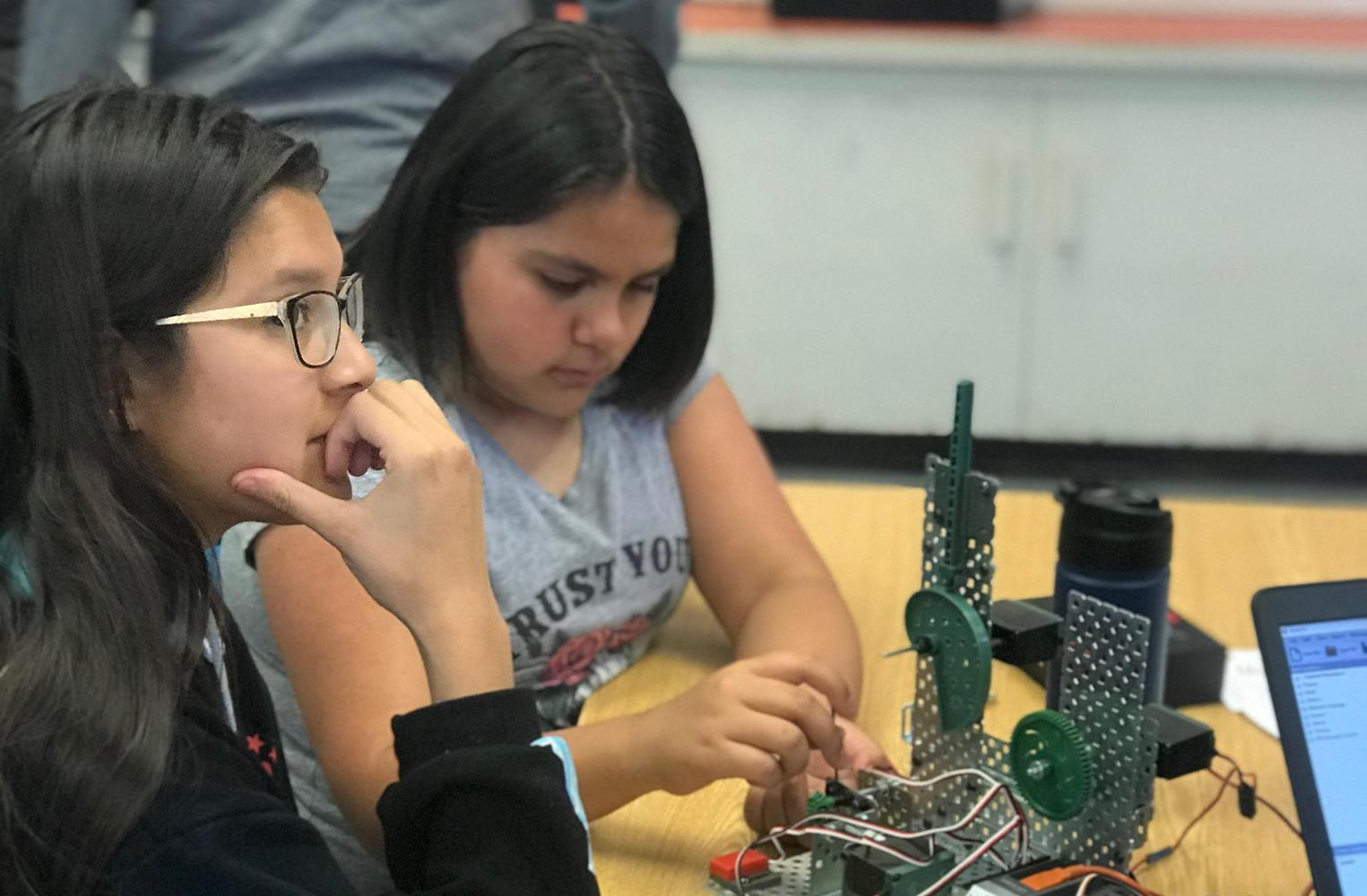 students at robotics