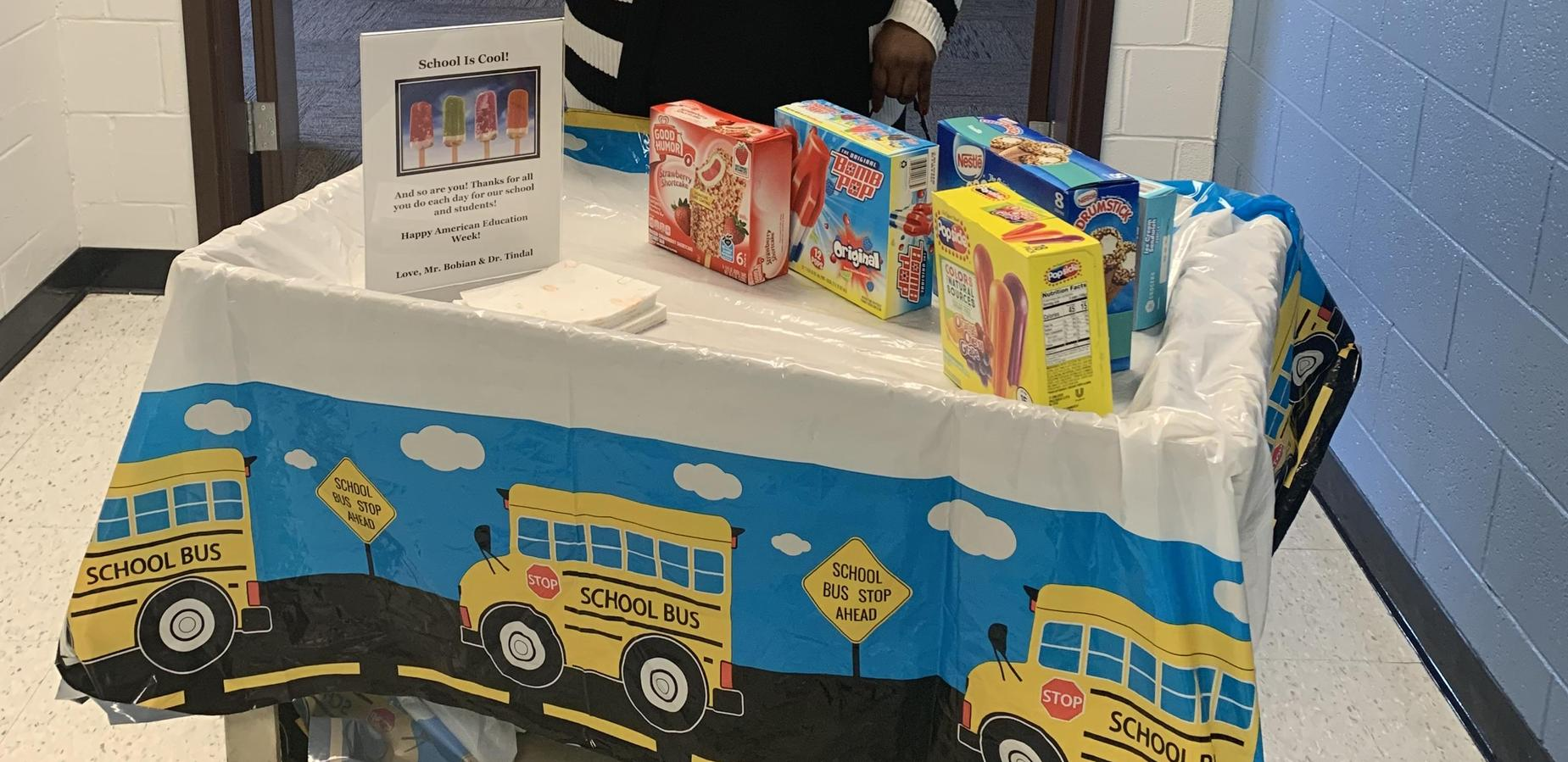 Dr. Tindal's sweet treat cart celebrating staff during American Education Week