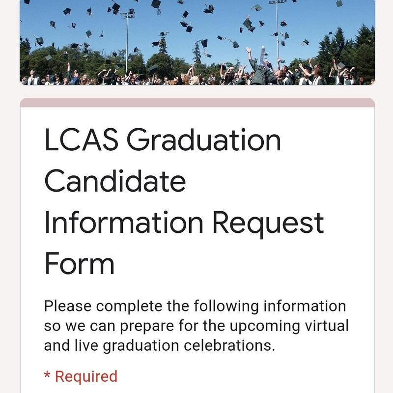 LCAS Graduation Candidate Information Request Form screenshot