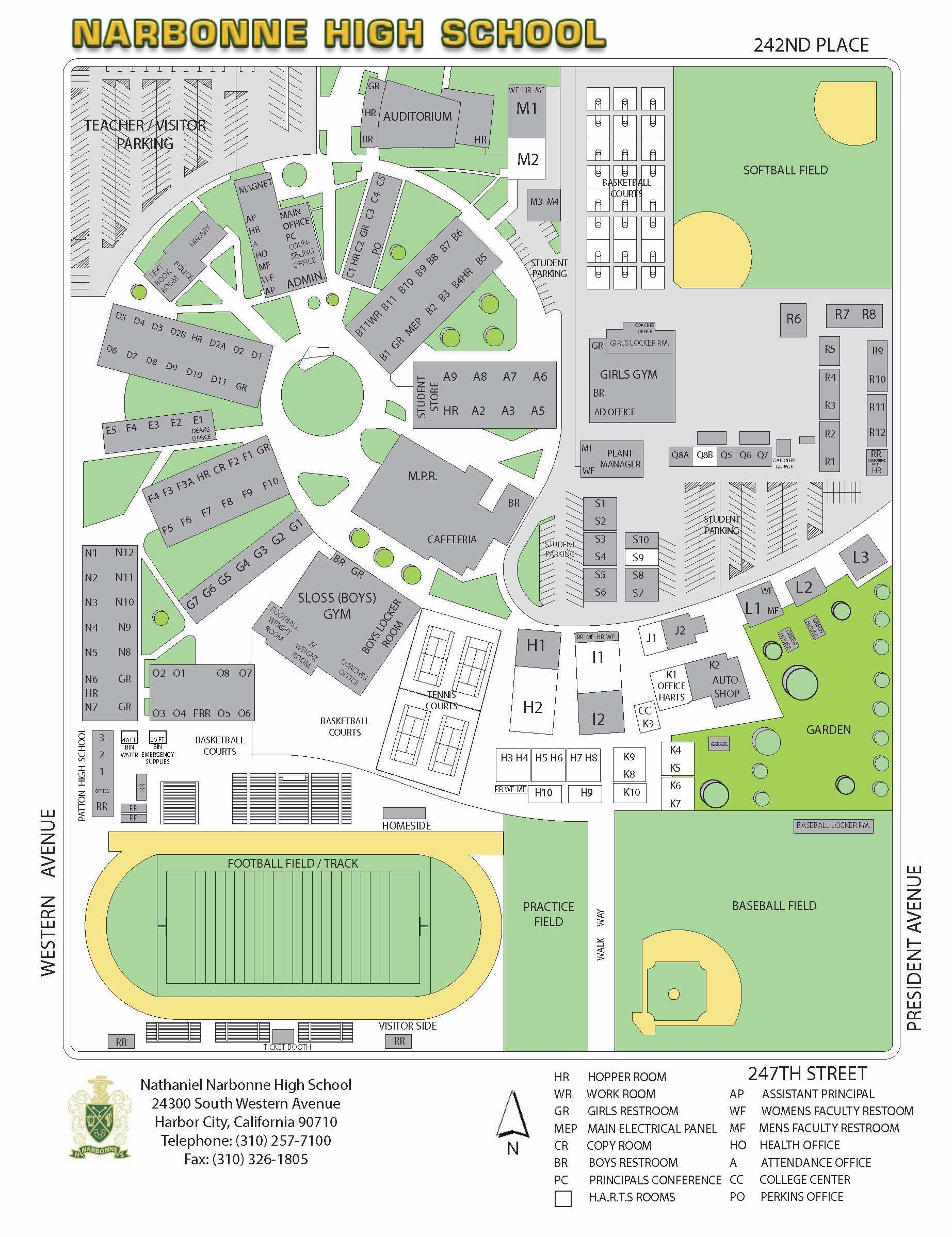 School Campus Map.Campus Map And Directions About Us Nathaniel Narbonne High School