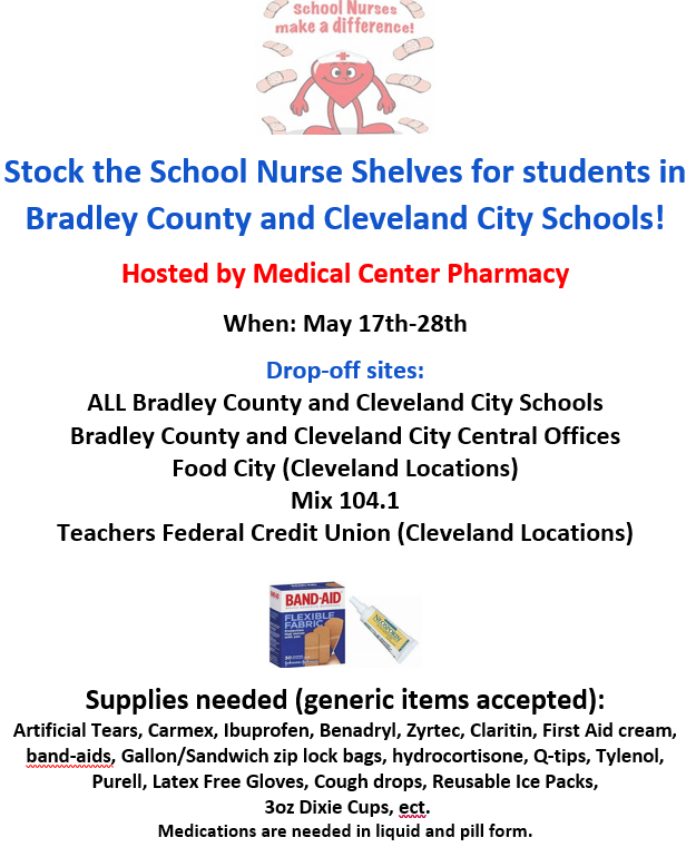 Stock the School Nurse Shelves for students in Bradley County and Cleveland City Schools! Featured Photo