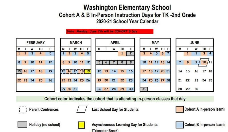 Washington Elementary A/B Cohort Calendar Featured Photo