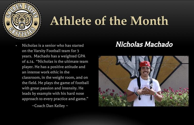 Nicholas Machado is GV Male Athlete of the Month Featured Photo