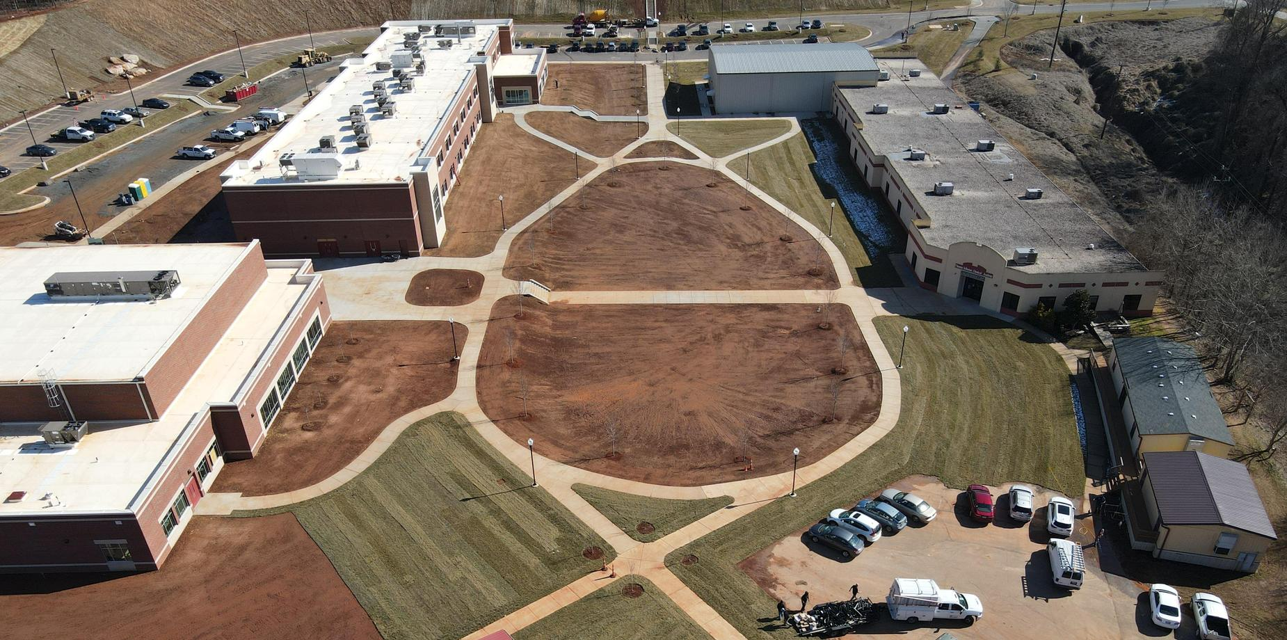 Overhead view of the campus improvements