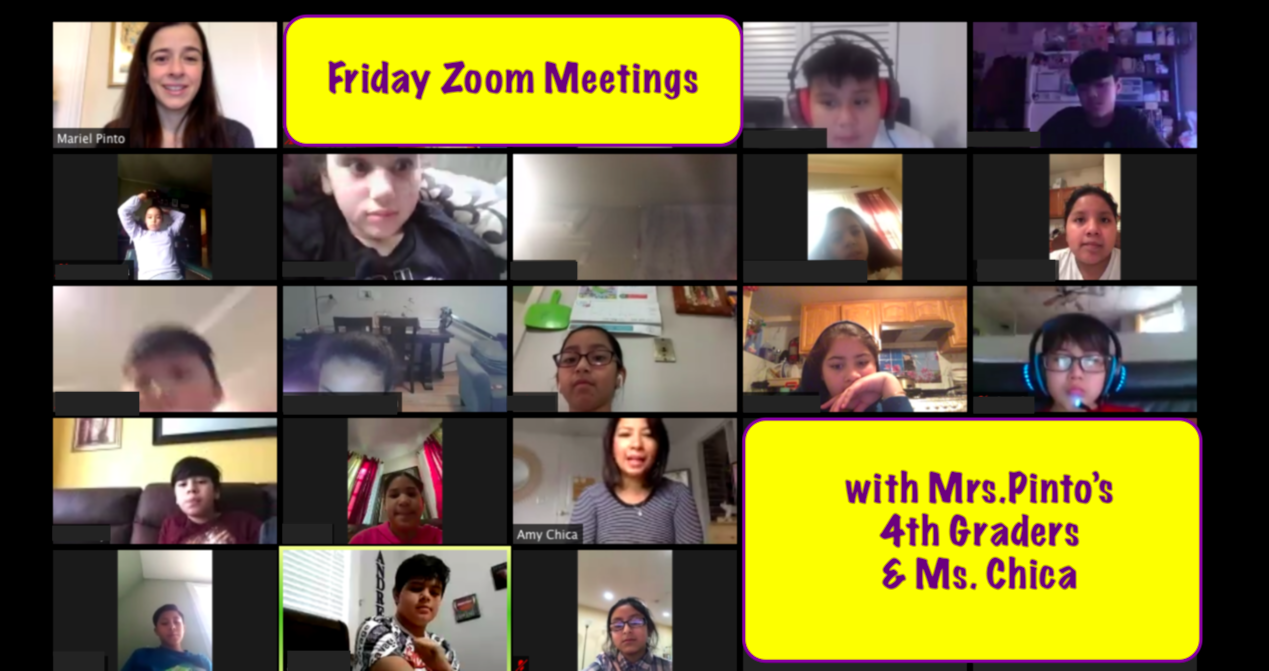 Roosevelt's Mrs. Pinto meets with her 4th Graders on Zoom along with Co-Teacher, Ms. Chica