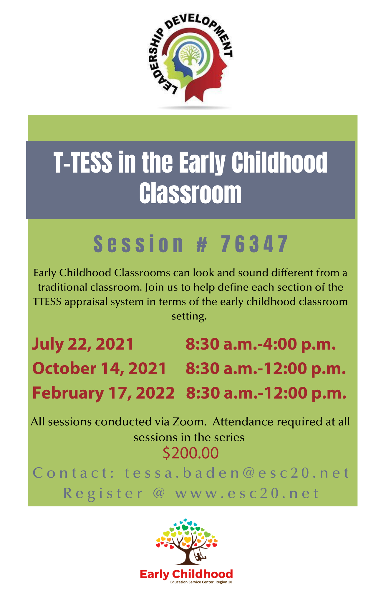 T-TESS in EC Classrooms July 22, October 14, and February 17
