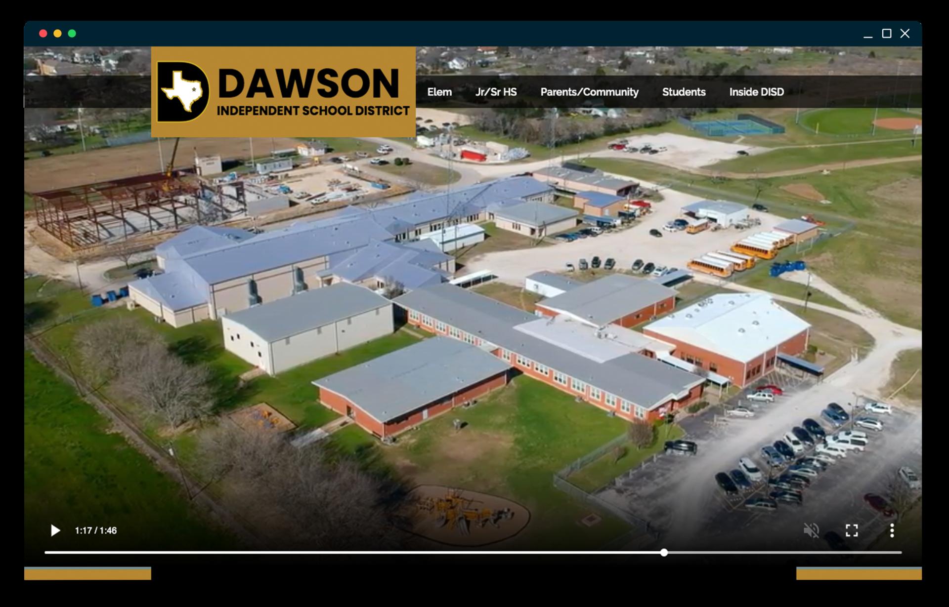 Dawson ISD website homepage screenshot