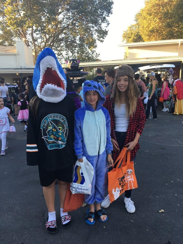 children dressed as shark, stitch and lumber jack