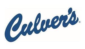 Culver's logo in blue cursive font.
