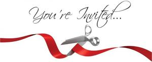 Text that reads you're invited, Images of a Red Ribbon and Scissors to symbolize Ribbon Cutting!