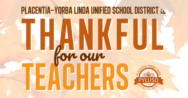 Thankful for teachers graphic for PYLUSD!