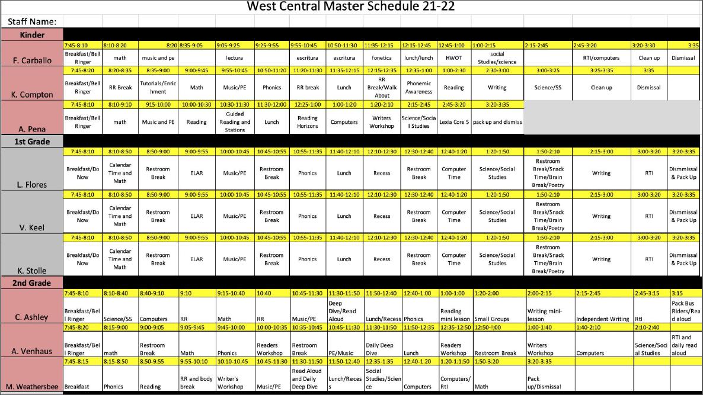 West Central Master Schedule