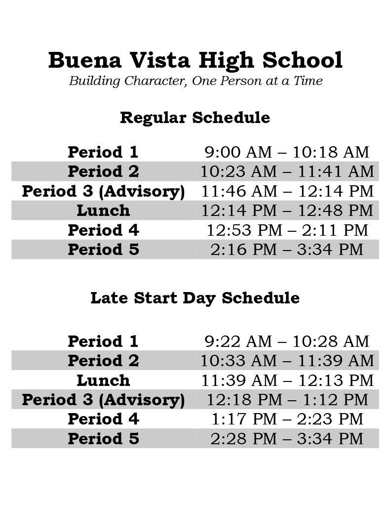Student Bell Schedule 2021