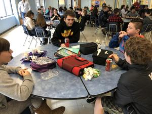 Gananda Middle School and high school students meet for lunch on Mix It Up Day.