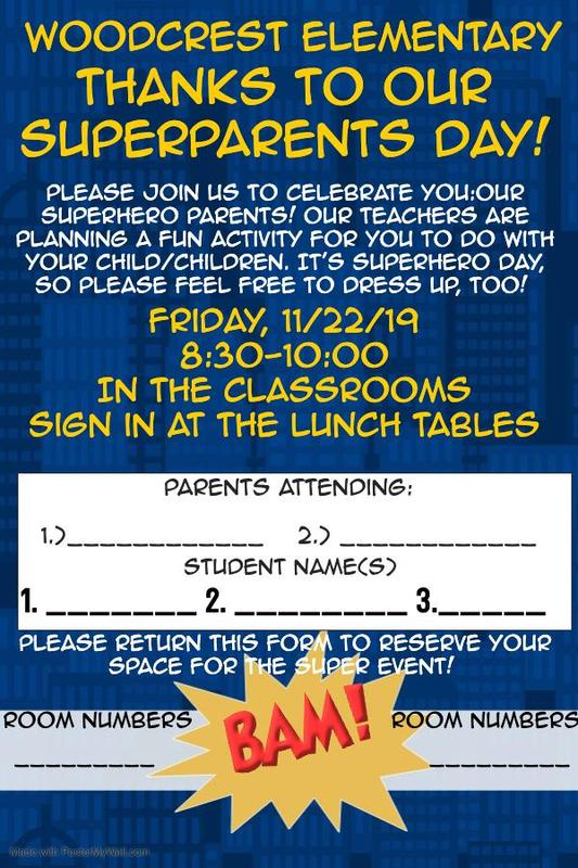 Flyer for our Thanks to our SUPER Parents Event