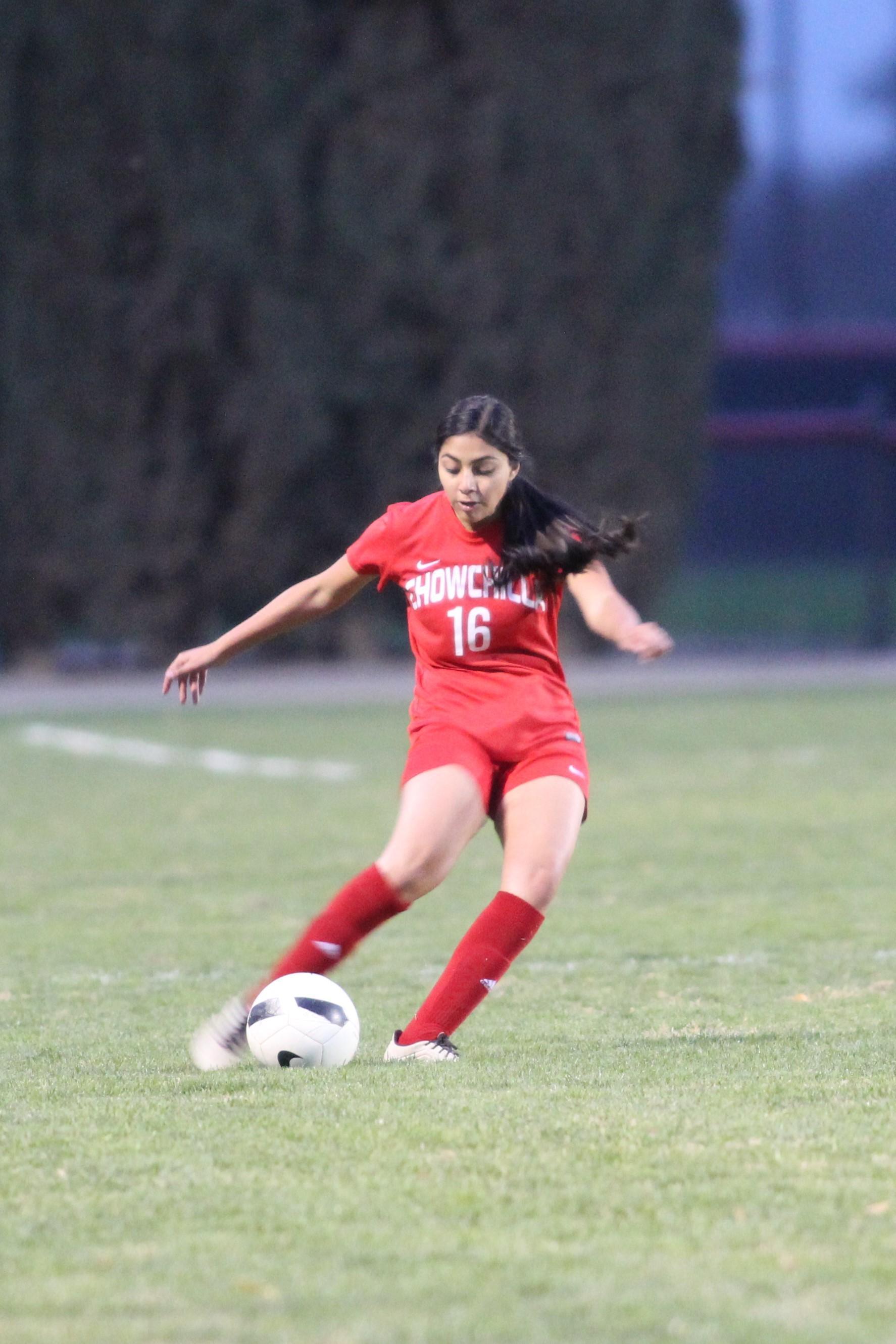 Girl kicks the ball