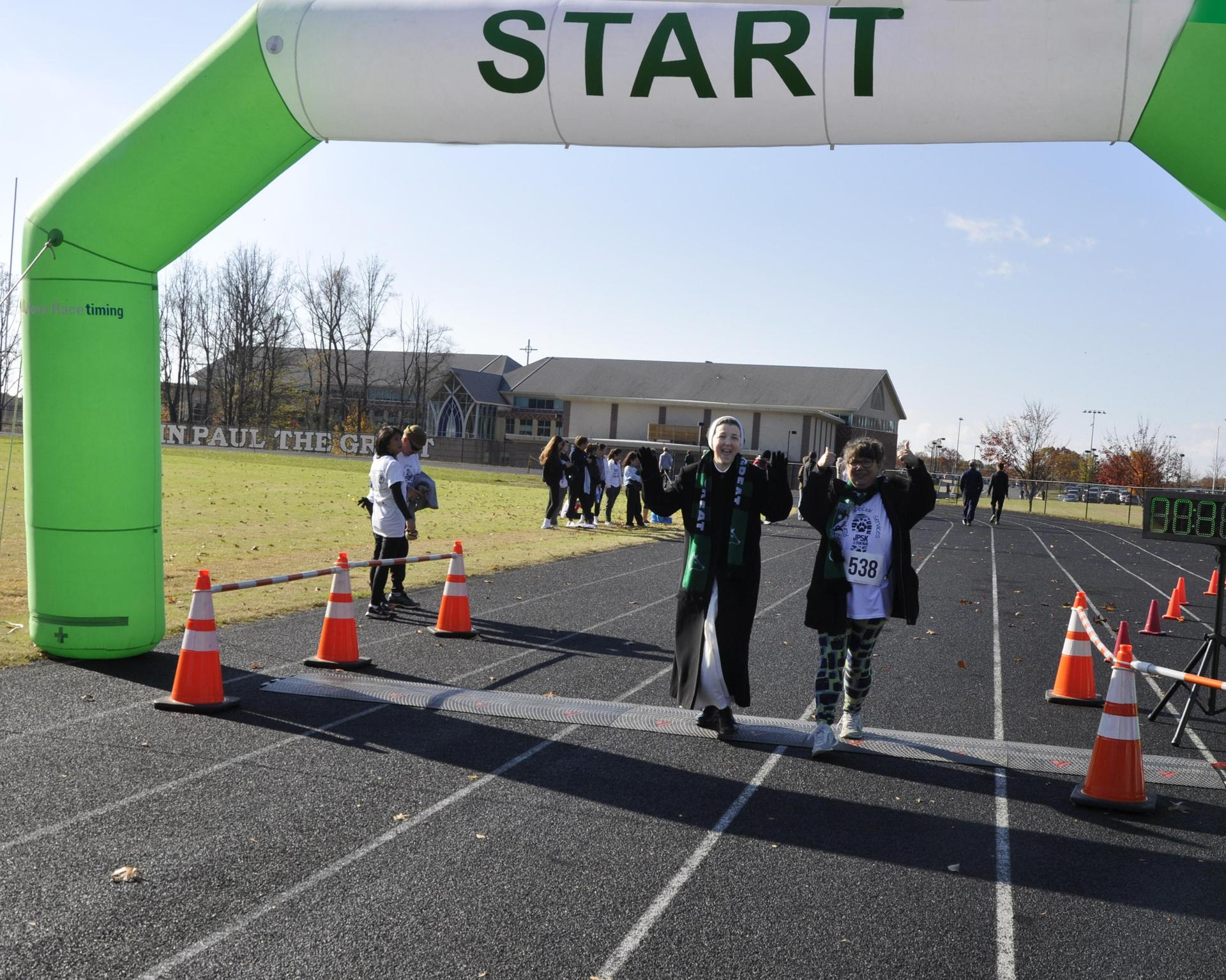 Sister Mary Veronica at the starting gate of the JP5K