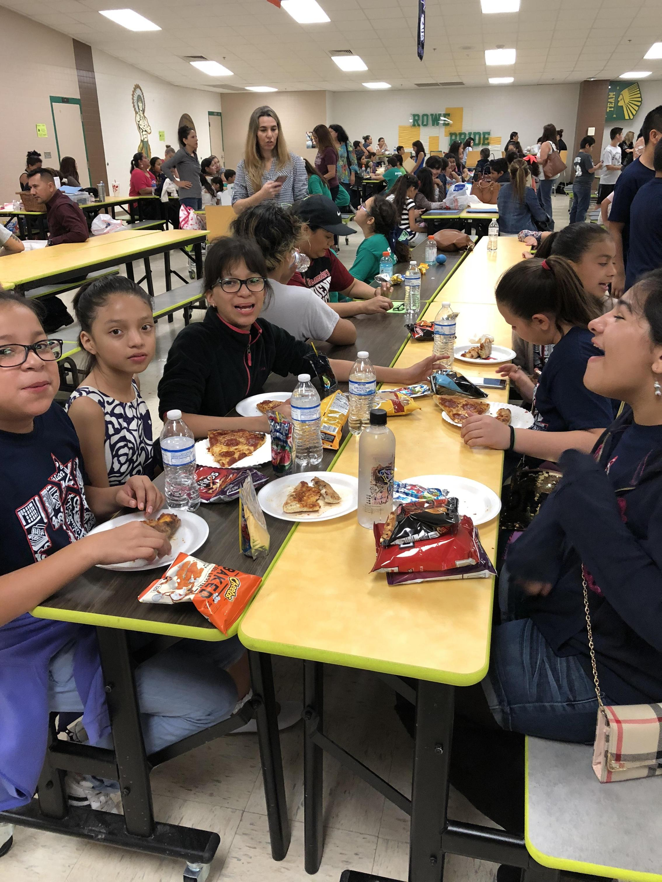 Students eating lunch in cafeteria for UIL.