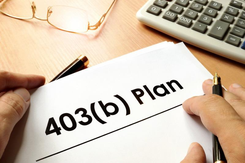 Document with sign 403b plan. Retirement concept