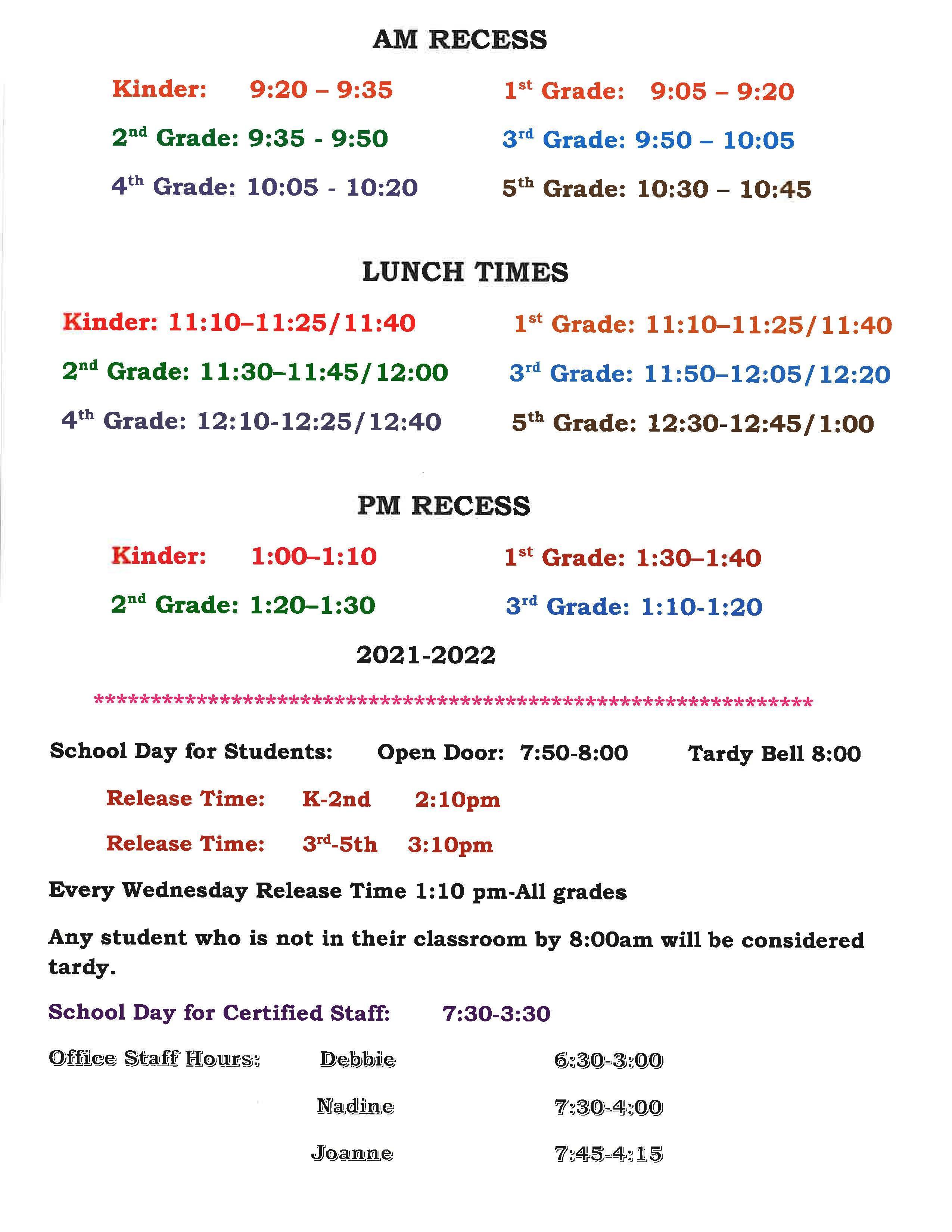 KSchool Schedule Updated 9 9 21