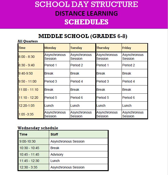 Distance Learning Sched