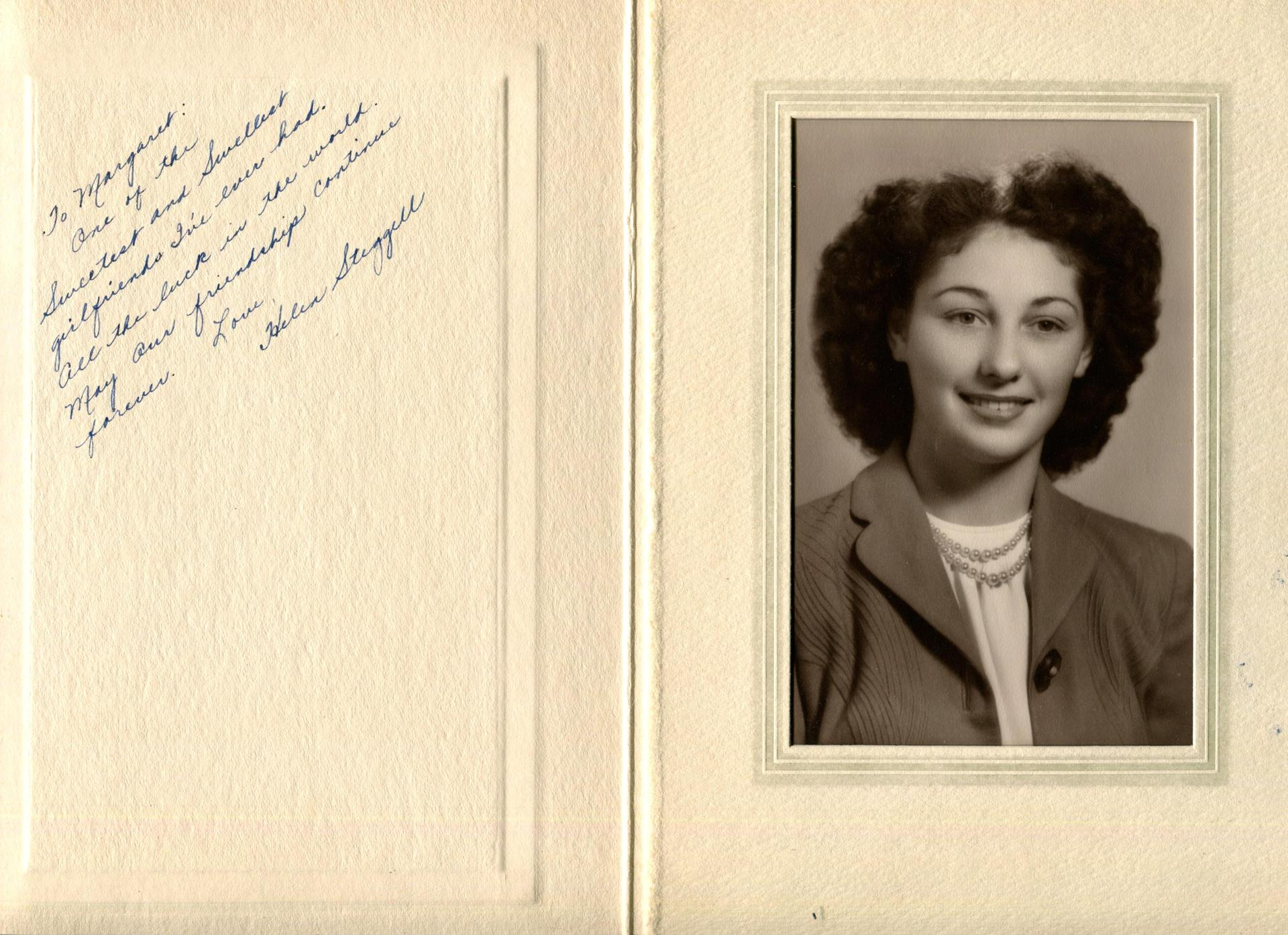 Helen Steggell, W'47 says goodbye