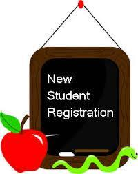 Apple, chalkboard with New Student Registration text