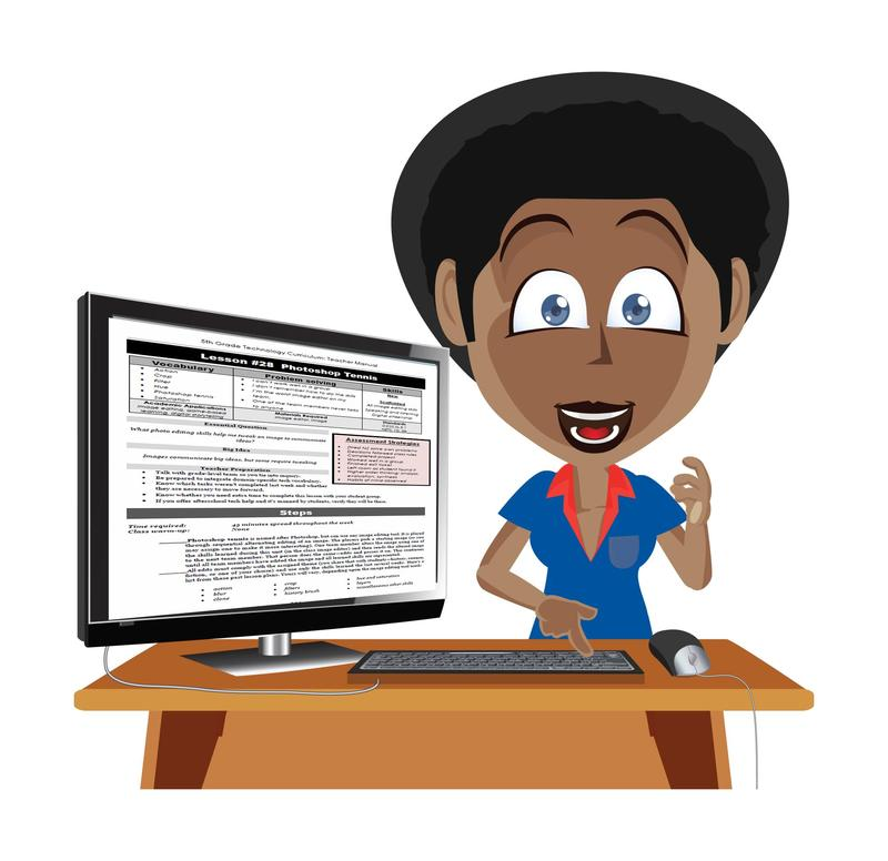 Teacher with computer