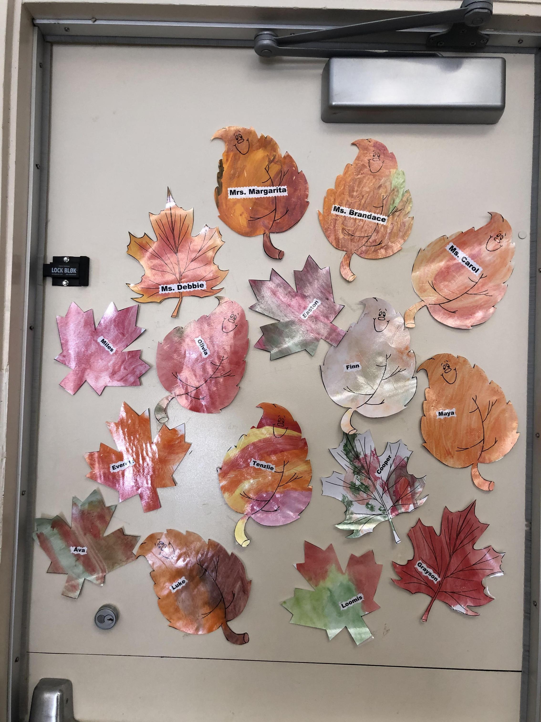 Leaves door display