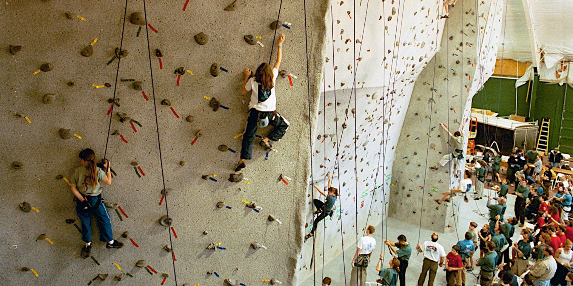 Climbers on the then-new Buder Climbing Wall.