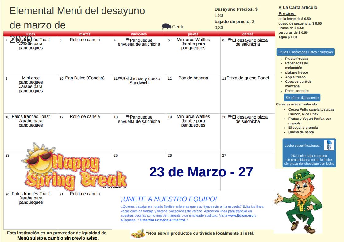 March 2020 Breakfast Menu - Spanish
