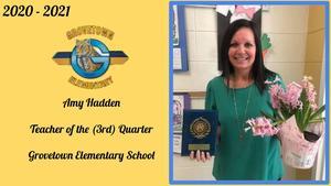 Ms. Hadden Teacher of 3rd Quarter.JPG