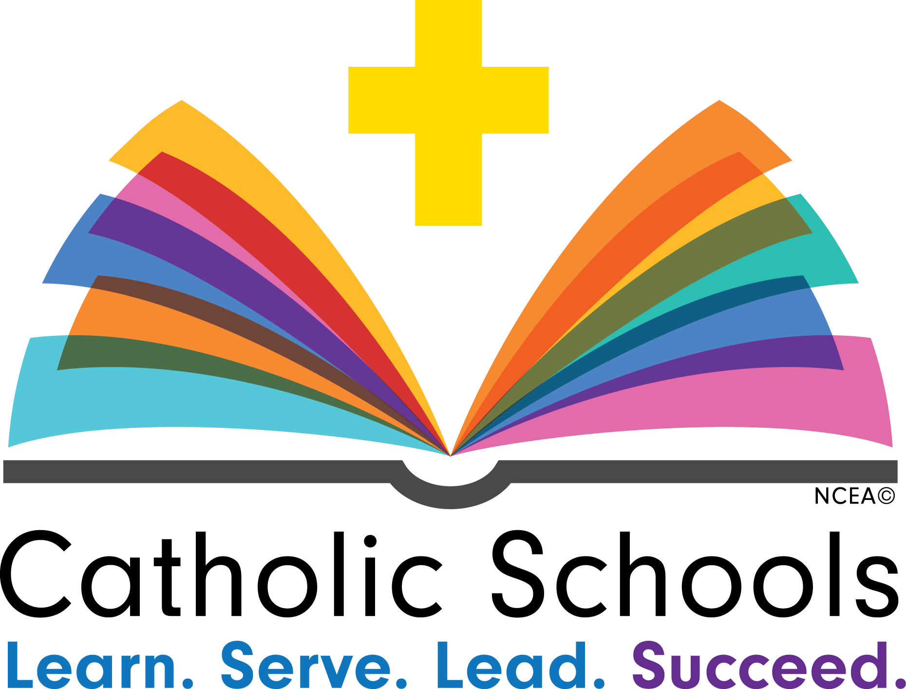 Catholic Schools Week logo - open book with cross above and words learn, serve, lead, succeed. ,