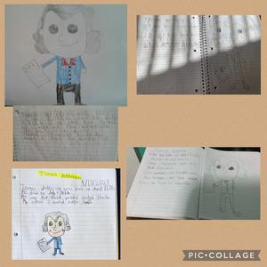 4 students' Jefferson portraits with their write up