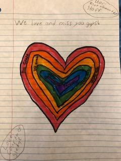 A picture of a heart drawn by one of Pilot's students and mailed to the school.