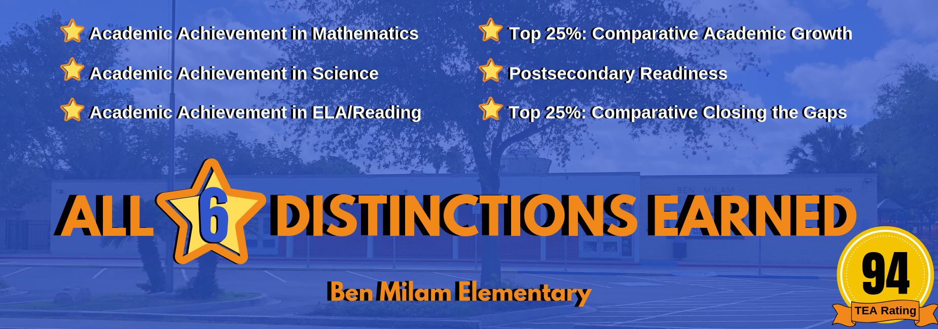 Milam Elementary earned all six distinctions from TEA!