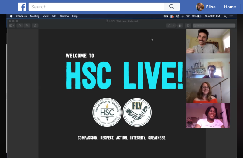 Screenshot of HSC Live slide and people in a Zoom meeting