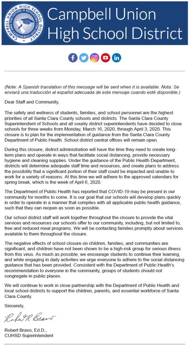 image of district school closures announcement during coronavirus