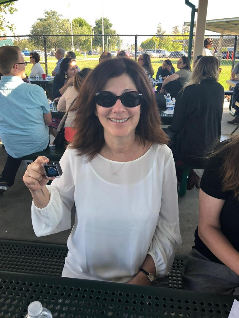 debbie reyburn receives pin for five years of service