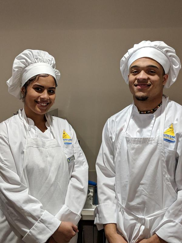 two student chefs who served at banquet
